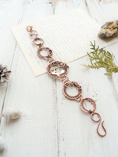 Bracelet Fox - Wire copper bracelet - Link circle bracelet - Boho style - Gift for women by Ursula Jewelry