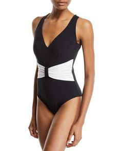 bee0fedd5c9 TXKGH Chiara Boni La Petite Robe Claudy Gathered Open-Back One-Piece  Swimsuit Petite
