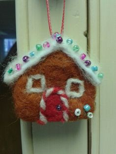 Needle felted gingerbread house x