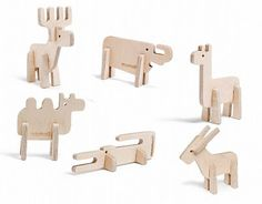 Wooden Animals (Set)Enzo by momoll: modern and. Pet Toys, Baby Toys, Kids Toys, Toddler Toys, Wood Projects For Kids, Wood Animal, Wood Design, Design Art, Designer Toys