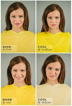 Spring Color Complexion Test. Different Shades of Yellow: Butter, Neon, Gold, Chiffon. Butter best suits her complexion.