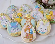12 Assorted Vintage Easter Themed Sugar Cookies