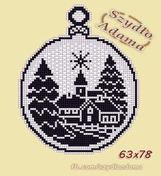 Best 12 zawieszki do okna – SkillOfKing.Com - Her Crochet Xmas Cross Stitch, Cross Stitch Needles, Cross Stitch Charts, Cross Stitch Designs, Cross Stitching, Cross Stitch Embroidery, Cross Stitch Patterns, Crochet Christmas Ornaments, Christmas Crochet Patterns