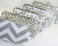 Grey & White Custom Bridesmaid Clutch / Wedding Gift / Wedding Purses - Set of 7