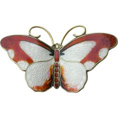 Here's a Gorgeous Sterling Silver Butterfly Pin by Hroar Prydz of Norway. Mr Prydz's enamels are Wonderfully lifelike with lots of detail and color  $195