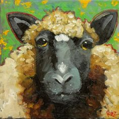 """♥ Sheep #11, close up ~ print of original painting (sold) ~ 12"""" x 12"""" ~ drunkencows.com ~ Whimsical fine art by Texas artist Roz (a.k.a. Rosilyn Young). ♥"""