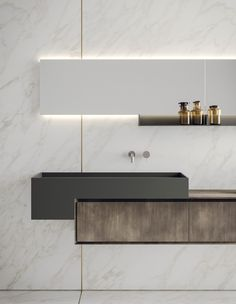 Lacquered wall-mounted vanity unit with mirror LIBERA+ | COMPOSIZIONE 01 by NOVELLO