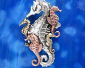 Seahorse Jewelry Pendant/Brooch-sterling silver-copper-brass oxidized satin finish