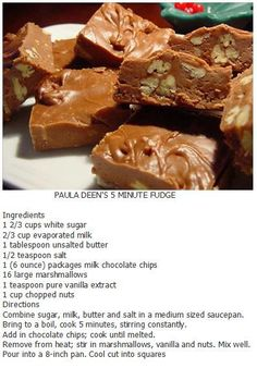 Nice Holiday Gift Paula Dean's five minute fudge - calls for 10 large marshmallows. I used 1 cup of minis. Very tasty and super easy! Candy Recipes, Sweet Recipes, Cookie Recipes, Dessert Recipes, Dessert Bread, Bread Recipes, Holiday Recipes, Party Desserts, Homemade Fudge