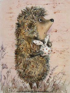Купить Ёжик в тумане - Ёжик, картина, батик, шёлк, текстильные краски: