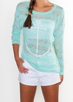 Mint Seaside Summer Knit anchor Shirt  from Suite One