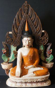Burmese Shan Buddha statue on throne 18th - 19th Century