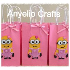 Beautiful Candy Bags made in Foam, for party decorations, for girls , with her initial in the minion.    COPYRIGHT NOTICE:  This item is not a licensed