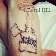 Remi hill acdc zippo tattoo WIP http://remihill.com