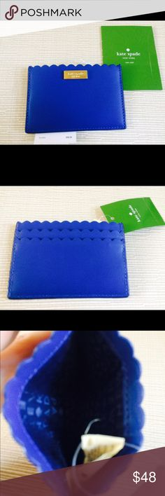 """KATE SPADE Blue Card Holder KATE SPADE Blue Card Holder. Leather. Measurements: 4.5"""" x 3"""" x 0.1"""". New with Tags kate spade Bags Wallets"""