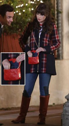 Plaid coat, red quilted crossbody bag and tan boots on the set of New Girl