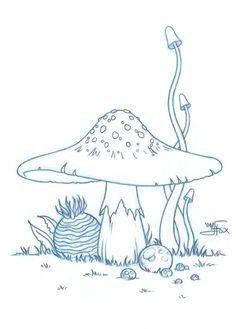 :Mush Mush by *JessFox vorlage gesielmac - Hobbyist, Digital Artist Mushroom Drawing, Mushroom Art, Art Drawings Sketches, Easy Drawings, Doodle Art, Cute Art, Art Inspo, Painted Rocks, Painting & Drawing
