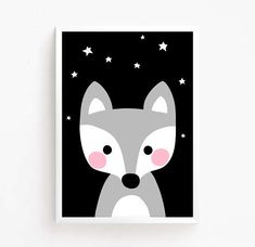 Printable Baby Fox star Baby room decor Instant Download kids