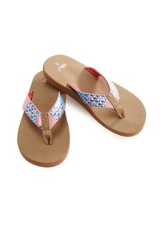 Americana Patchwork Flip Flops