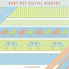 Digital Ribbons for Baby Boys  Clip Art by KylieHealeyDesigns, $3.00
