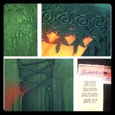 Frederick's of Hollywood Dress. Sz 3/4 Dark Hunter Green, Need to Add Better Pics! Scoop Neck, Flowey Short Sleeves 3/4 Long Dress. The Material is Amazing & has Awesome Rose Details. Ties in Back. I Wore this Once Only...it was the Bride's Maid Dress for my Brother's Wedding. Frederick's of Hollywood Dresses