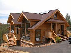 Solar hybrid home construction (Arcadia from Enertia. Log Cabin Homes, Cottage Homes, Wooden House Design, Beautiful Modern Homes, Passive Solar Homes, My House Plans, Solar House, Construction Design, Dream Home Design
