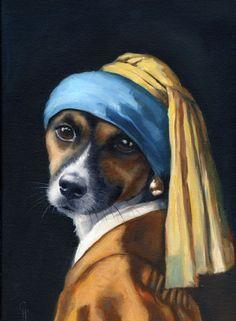 Jack Russell Terrier Vermeer Pearl Earring Painting by hartart13