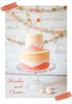 A peaches and cream pleated wedding cake - Pocketful Of Dreams
