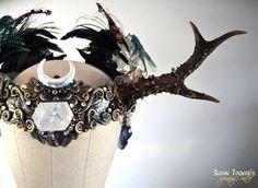DRUANTIA'S DAUGHTER Enchanting Faerie Princess Antler Headdress Ritual Crown by Susan Tooker of Spinning Castle