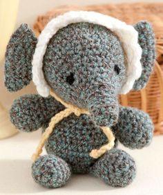 Baby's Elephant Free Crochet Pattern ❈ Supplies: RED HEART® Super Tweed™: 1 skein 7819 Landshark A., RED HEART® Super Saver®: Small amounts 316 Soft White B, 320 Cornmeal C, & 312 Black D., Crochet Hook: 3.75mm [US F-5]. Yarn needle, stitch marker, stuffing