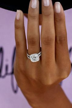Cushion cut with halo engagement ring