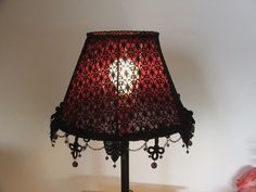 Gothic style table lamp  Spider webs black lace on  by AnatBon, $91.00