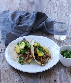 Australian Gourmet Traveller recipe for pork and pineapple tacos by Ben Shewry.