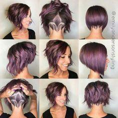 Lilac hair. Purple hair. Lavender hair. Bob. Cute. Sexy. Stylish. Brunette.