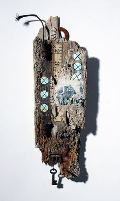 """Wood from old Lobster Pot, vintage tape measure, old sea chart, keys and rusty buckle. Finished with hand - stitch.  Available at """"The Found Gallery"""", Dunbar https://www.facebook.com/pages/The-Purple-Thread-Shed-Ali-Ferguson/176460132412566"""
