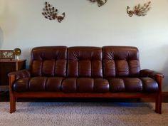"""Vintage Ekornes """"Montana"""" Leather & Teak 3-Seater Sofa - No Shipping"""