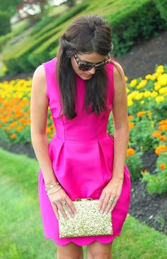 Shades of Spade - Classy Girls Wear Pearls : Classy Girls Wear Pearls: Shades of Spade - perfect pink dress Preppy Mode, Preppy Style, Pink Party Dresses, Cute Dresses, Pink Dress, Cocktail Pink, Mode Bcbg, What To Wear To A Wedding, How To Wear