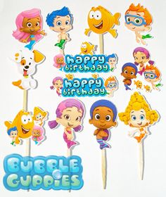 12 Bubble Guppies Birthday Party Cupcake Cake Sticker Toppers on Etsy, $8.50