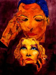 "Saatchi Art Artist CARMEN LUNA; Painting, ""30-Arte Exquisito. Greta y Marlene."" #art"