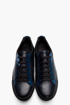 Raf Simons Black Leather And Metallic Blue Low-tops for men | SSENSE