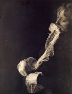 "Albert von Schrenck-Notzing, ""The medium Stanislawa P: emission and resorption of an ectoplasmic substance through the mouth"", 23 June 1913, Gelatin silver print"