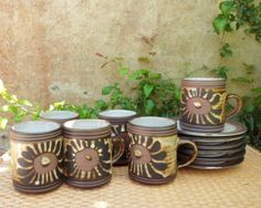 Briglin Pottery Six Coffee Cup Duos Vintage Earthenware British Studio Pottery