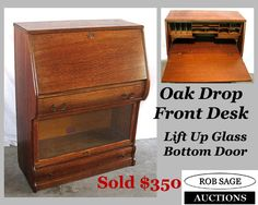 unusual drop front desk with the lift top door on the bottom...one of the few I have had!  www.robsageauctions.com