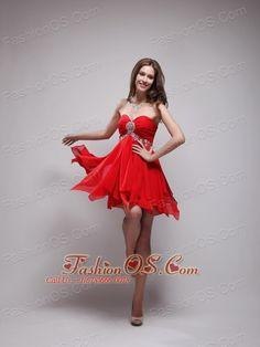 Red Empire Sweetheart Neck Mini-length Chiffon Beading Prom / Homecoming Dress- $97.58  http://www.fashionos.com  sexy mini length prom dress | red short prom dress | where to buy a short prom dress |