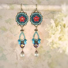 Wow!, Byzantium Turquoise and Red Version  Symmetrical  on etsy @MiaMontgomery, $125.00