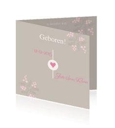 Stoere retro en ouderwetse geboortekaartjes voor een meisje. Echt een mooie kaart voor de aankondiging van een geboorte.