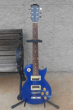 """Galveston Blue Acrylic LP Electric Guitar See thru Special Edition Lucite"" - Very cool."