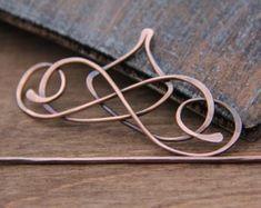 Hair slide hair barrette hair clip hair fork by Keepandcherish Copper Jewelry, Hair Jewelry, Jewelry Art, Jewelry Design, Jewellery, Hair Slide, Jewelry Polishing Cloth, Bijoux Diy, Hair Sticks