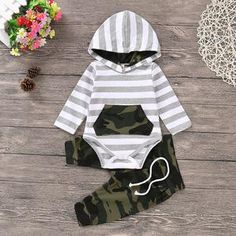 Baby Boy's Striped Camouflage Hooded Bodysuit and Drawstring Pants – Baby For look here Baby Outfits Newborn, Baby Boy Outfits, Kids Outfits, Unique Baby Boy Clothes, Babies Clothes, Babies Stuff, Baby Hair Bands, Baby Girl Pants, Matching Family Outfits