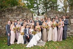 Neutral Fall Wedding Party.  I am not sure if I think neutral colors would be too boring, but with really bright gerber daisies or other bright flowers it may look pretty!